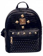 Vintage Siyah Renk Küçük Sırt Çantası