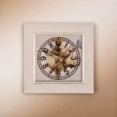 Regal Ultima 1369 W1 Rustik Beyaz Ahşap Desenli Köşeli Saat