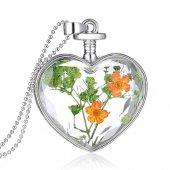 Frilly Kuru Çiçek Kalp Kolye (FKK104s)