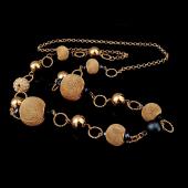Frilly Altın & Gümüş  Kaplama Kristal Boncuk Uzun Kolye (FKK409)