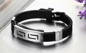 Frilly Metal Deri Siyah Bileklik (FEB238)