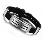 Frilly Metal Deri Siyah Bileklik (FEB238)-3