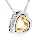 Frilly Kristal Taşlı Altın Kaplama Kalp Kolye (FKK721)