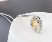 Frilly Kristal Taşlı Altın Kaplama Kalp Kolye (FKK721)-2