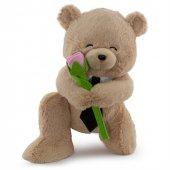 Neco Plush Sevgiliye Hediye  Fluffy Kravatlı Serenat Ayı 45 Cm