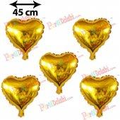 5 Adet Altın Sarısı Gold Kalp Folyo Balon 45cm Helyumla Uçan Sevg