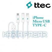 Ttec Trio Çoklu 100cm Şarj Kablosu Data Kablosu İphone Micro Usb Typec