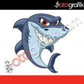 Otografik Köpek Balığı 5 Renkli Oto Stıcker