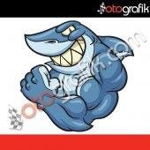 Otografik Köpek Balığı 3 Renkli Oto Stıcker