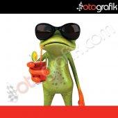 Otografik Tatilci Kurbağa Renkli Oto Stıcker