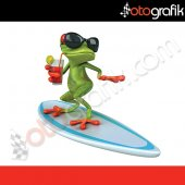 Otografik Sörfçü Kurbağa Renkli 3d Oto Stıcker