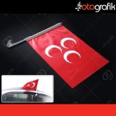 Otografik Araç Bayrağı Osmanlı Kırmızı Sancak Oto Bayrak