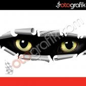Otografik Gizlenen Kedi Gözleri 3d Oto Sticker
