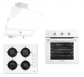Luxell White Argento Button 3lü Ankastre Set