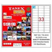Tanex Tw 2033 63.5 Mm X 25.4 Mm 100 Sayfa Lazer