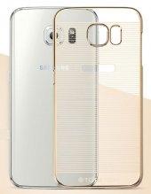 Samsung Galaxy S6 Metalik Gold Kenarlı Çizgili Kılıf