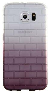 Samsung Galaxy S6 Kabartmalı Mor Silikon Kılıf