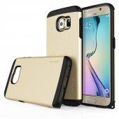 Usams U Series Samsung S6 Rubber Kapak Gold Tam Korumalı Kılıf