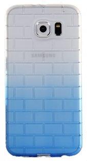 Samsung S6 Kabartmalı Mavi Silikon Kılıf