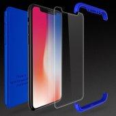 iPhone X Kılıf 360 Full Koruma Lacivert-7