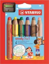 Stabilo Woody 3 İn 1 Karton Kutu 6 Renk +1 Kalemtraş