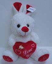 30cm Sevimli Kalpli Peluş Tavşan, Sevgiliye...