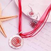 BTK010- Gümüş Renk Kırmızı Katmanlı Zamak Kolye 2li Set