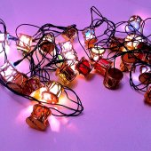 91289 6 Yılbaşı Çam Ağacı Süsleme Işıkları Fener Şekilli (Altın)