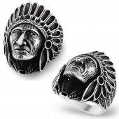 925 Ayar Gümüş Kızılderili Şef Erkek Yüzük...