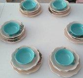 Keramika Turkuaz Gül Yemek Takımı