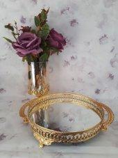 Dalgıç Gümüş Aynalı Silver Gold Söz Nişan Çay Kahve Sunum Tepsisi