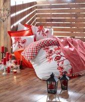 Cotton Box Scarlet Kırmızı Sevgililer Günü Çift Kişilik Nevresim Takımı (Saçaklı Yatak Örtüsü Hediye)