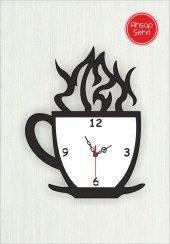 özel Tasarım Ahşap Fincan Görünümlü Saat