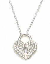 925 Ayar Gümüş Askılı Kalp Anahtar Deliği Kolye, Beyaz Taş
