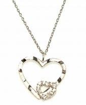 925 Ayar Gümüş Kalemli Kalp Kolye, Beyaz Beyaz Taş