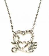 925 Ayar Gümüş Love Yazılı Kalp Kolye, Beyaz Beyaz Taş