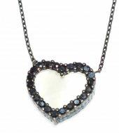 925 Ayar Gümüş Sedef Taşlı Kalp Kolye, Siyah