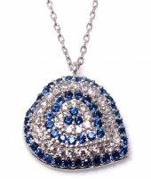 925 Ayar Gümüş Nazar Kalp Kolye, Beyaz, Mavi Taş