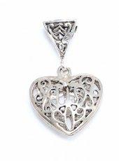 925 Ayar Gümüş Ajurlu Kalp Modeli Kolye Ucu