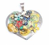 925 Ayar Gümüş Kalp Modeli Çiçekli Ve Yapraklı Kolye Ucu