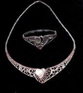 925 Ayar Gümüş Kalp Modeli Ajurlu Kolye Ve Bilezik Set