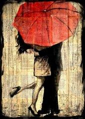 Şemsiye Yağmur Aşk Ahşap Eski Tablo Ev,cafe,ofis dekorasyonu