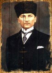 Atatürk Ahşap Eskitme Tablo Ev,cafe,ofis Dekorasyonu