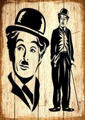 Charli Chaplin Ahşap Eskitme Tablo Ev,cafe,ofis Dekorasyonu