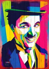 Charlie Chaplin Ahşap Eskitme Tablo Ev,cafe,ofis Dekorasyonu
