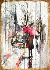 Kız Şemsiye Yağmur Ahşap Eskitme Tablo Ev,cafe,ofis Dekorasyonu