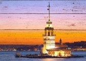 Kız kulesi istanbul Ahşap Eskitme Tablo Ev,cafe,ofis dekorasyonu