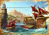 Gemi Osmanlı Ahşap Eskitme Tablo Ev,cafe,ofis Dekorasyonu