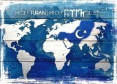 Harita Dünya Mavi Ahşap Eskitme Tablo...
