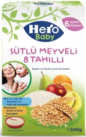 HERO BABY 200GR SÜTLÜ MEYVELİ 8 TAHILLI KAŞIK MAMASI